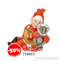 Gardsnisser Gnome Girl With Baby Mouse Statue
